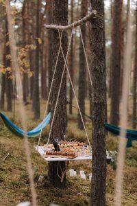 uzkodas kāzās mežā