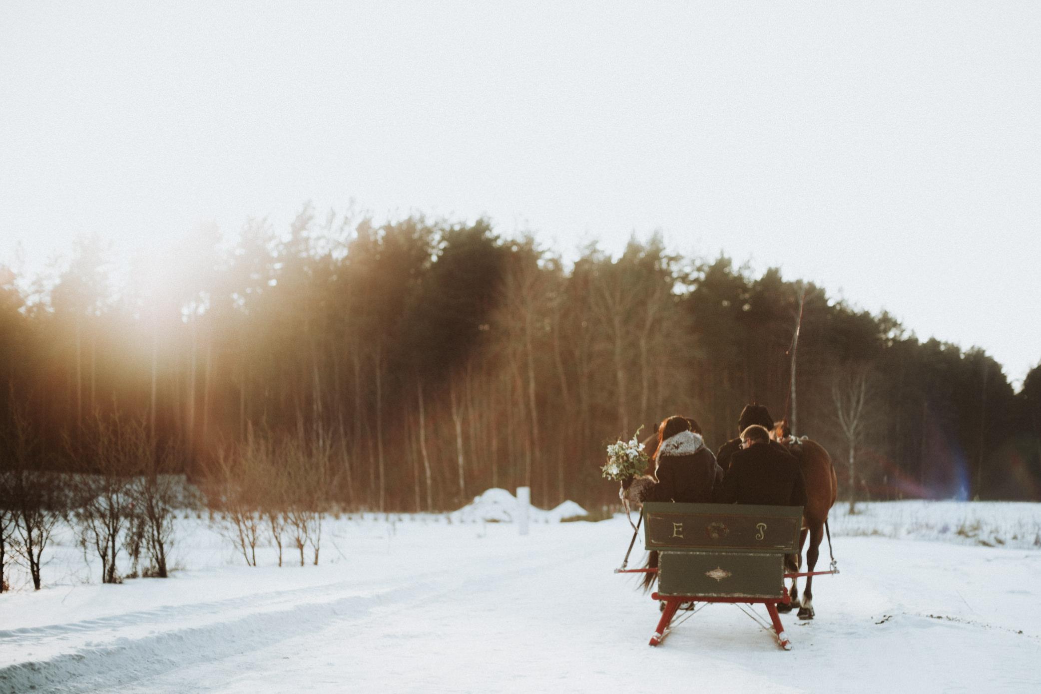 kāzas ziemā zirgi